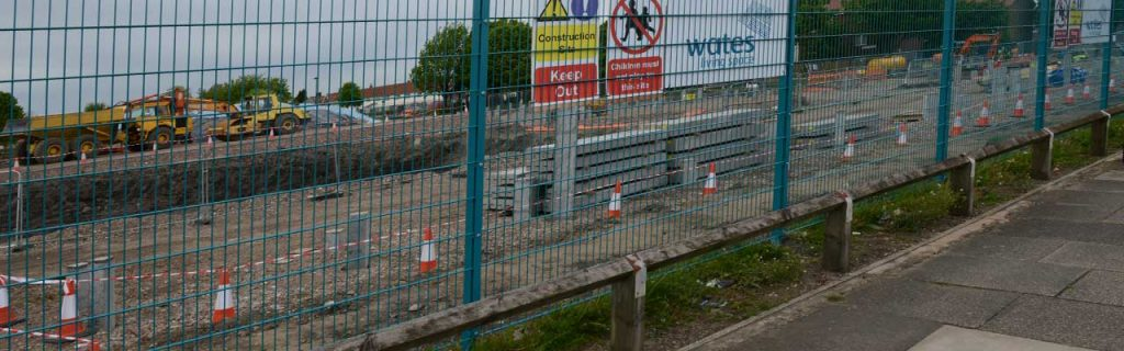 Twin wire mesh panel fencing used as temporary fencing at Wates housing development