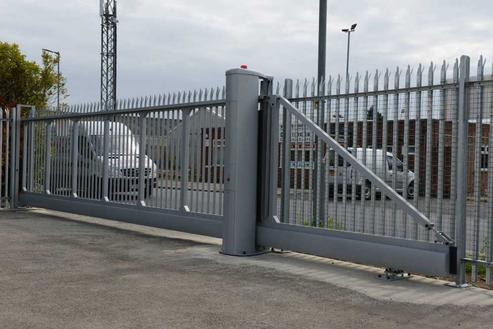 2.4m High Cantilever Sliding Gate with steel palisade infill at Mantank Protract lane at Protract Lane, Teesside.