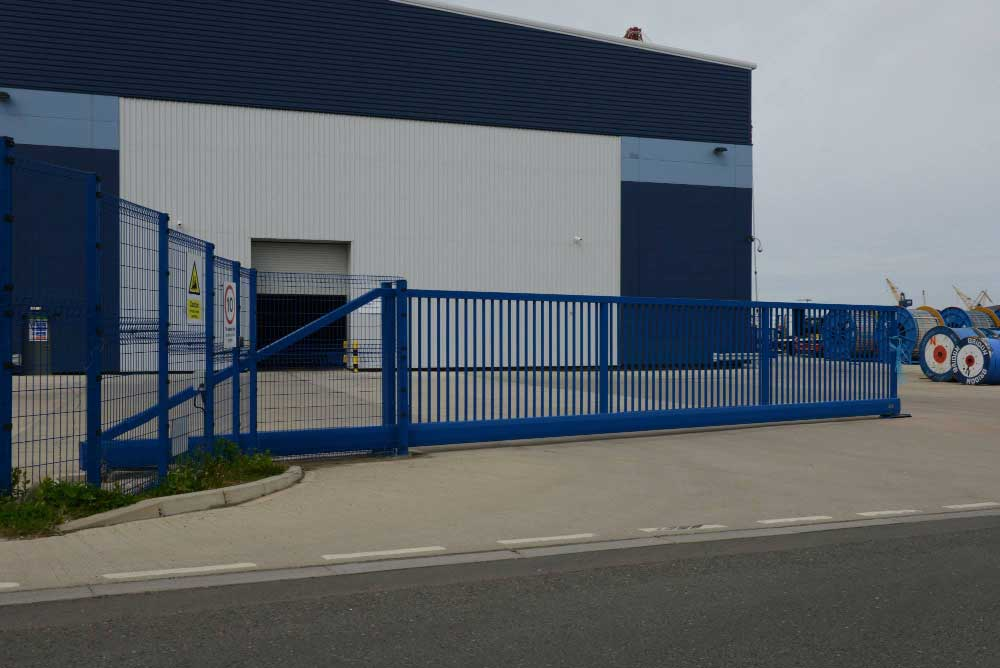 2.40m High x 20m Wide Double Manual Sliding Gate at Bridon Ropes Neptune Quay, Newcastle upon Tyne.