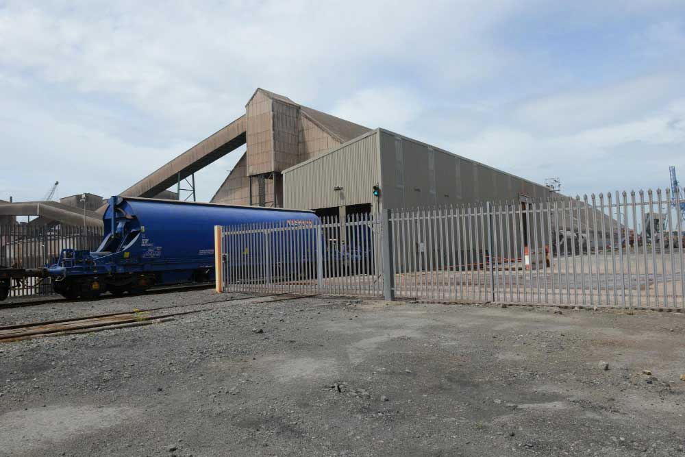 palisade & double gates at Cleveland Potash Teesport