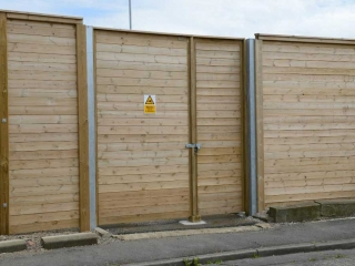 3m High Acoustic Barrier, un-Equal Double Gate at Cargo Fleet Office, Middlesbrough.