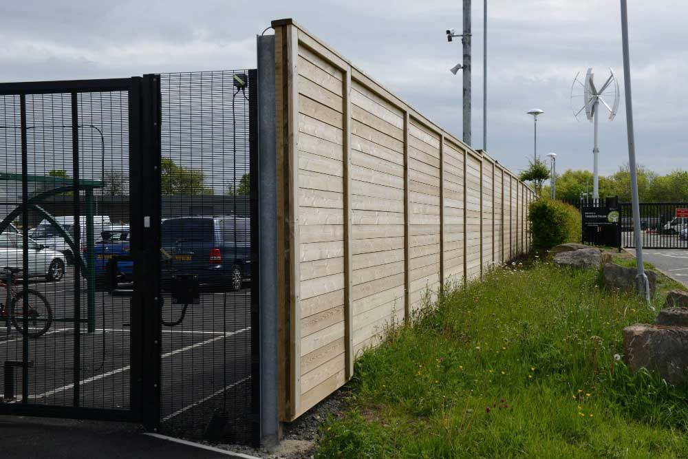 2.40m High Acoustic fencing installed at Darlington Borough Council site.