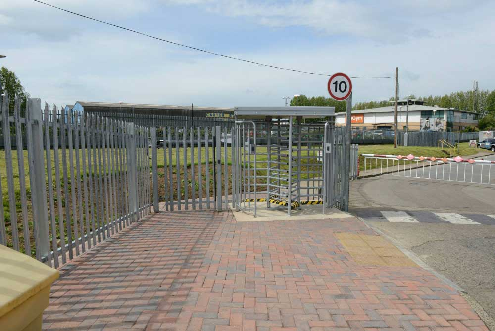 Double Turnstile for entrance & exit with 2.0m high palisade at Warburtons factory, Stockton on Tees.