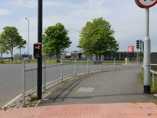 Pedestrian barrier installed at intersection