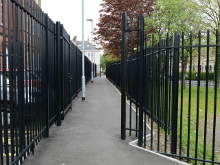 Railing square bar infill at Westgate Hill Primary School, Newcastle upon Tyne.