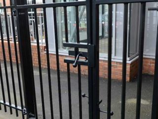 Single Leaf Rail Gate, Square bar infill at Westgate Hill Primary School, Newcastle upon Tyne.