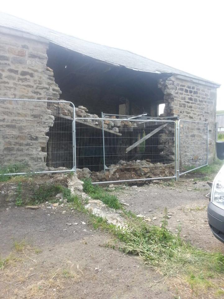 Temporary Fencing Securing Damaged Farm Buildings at Marley Hill.