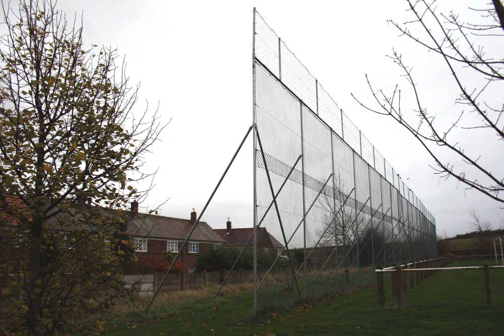 Ball stop netting at a football pitch in the North of England