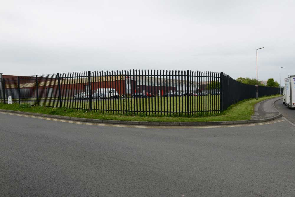 Black powder coated palisade perimeter fencing, Peterlee
