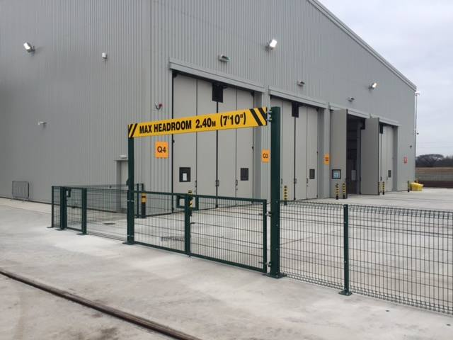 1.2m High Rolltop Fencing Baseplated complete with double gate and height restriction barrier installed in Newton Aycliffe.