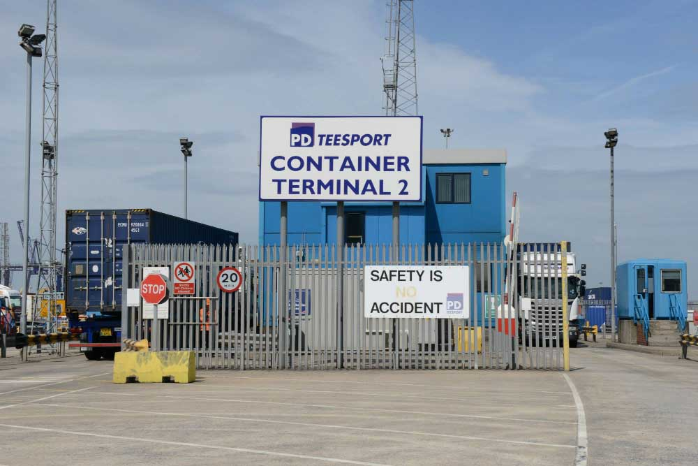 Teesport Container Terminal, palisade security fencing, manned access control and traffic barriers at Tees Port, Middlesbrough.