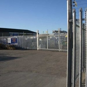 Palisade Fencing With Electric Fence Attached in Cargo Fleet, Middlesbrough, United Kingdom.