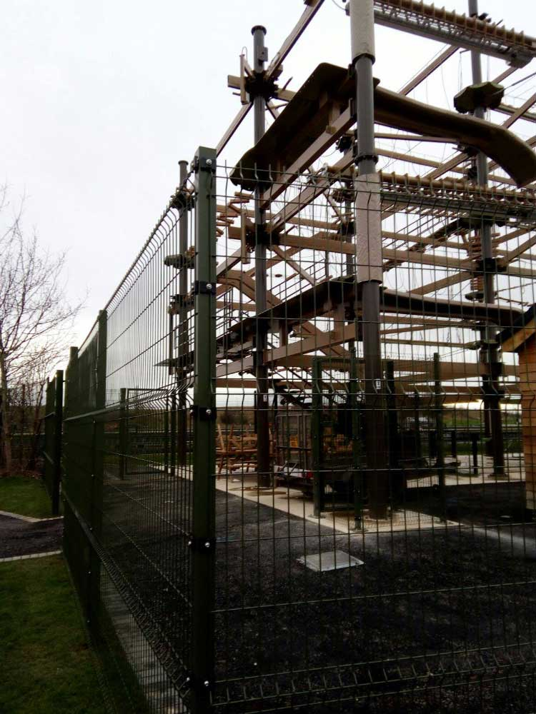 2.43m High Crimped Mesh, Special Green RAL6003 installed around the new Air Trail Course at Teesside Barrage.