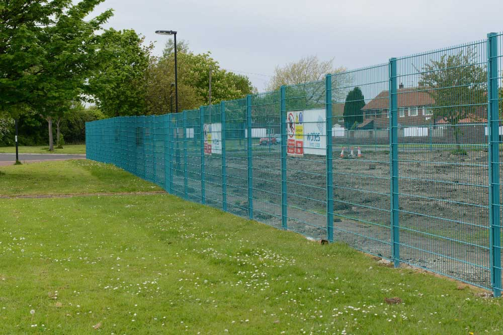 Due to the duration of this project twin wire mesh panel fencing was chosen to be used as a temporary fence because of it's superior strength over traditional temporary hoardings.