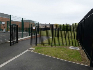 1.80m High Railing with square bar infill at Westgate Hill Primary School, Newcastle upon Tyne.
