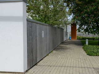 2.4m High timber Fencing Double Sided with an aluminium Bull Nose Topping at Roseberry Park Hospital, Middlesbrough, Teesside.