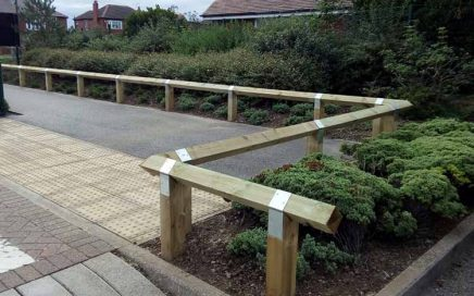 Birds Mouth Railing protecting planted area