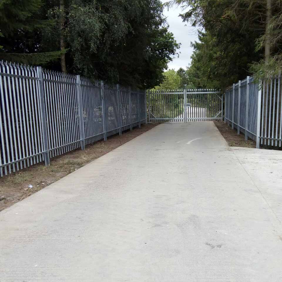 Supply and install 2.40m high galvanaised palisade fence and matching gate