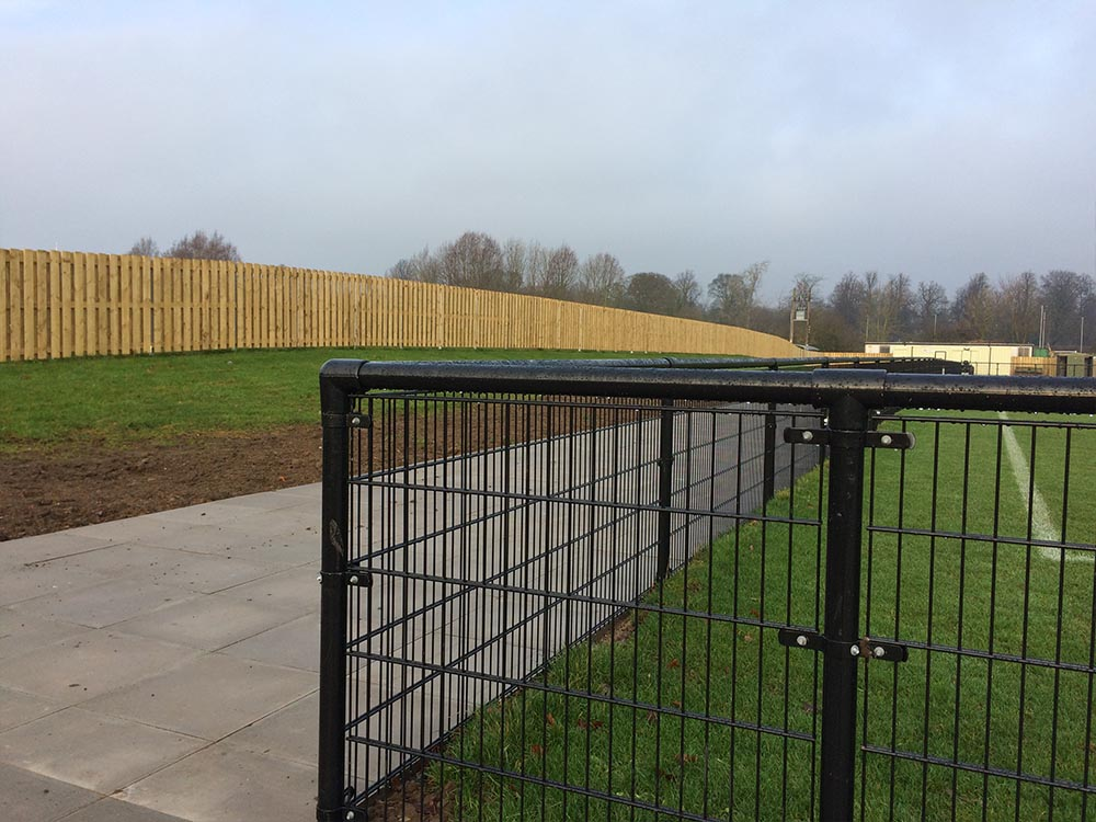 Fencing installed by Rennyco at Darlinton RFC & FC ground as part of a ground sharing deal that brings the Quakers back to Darlington.