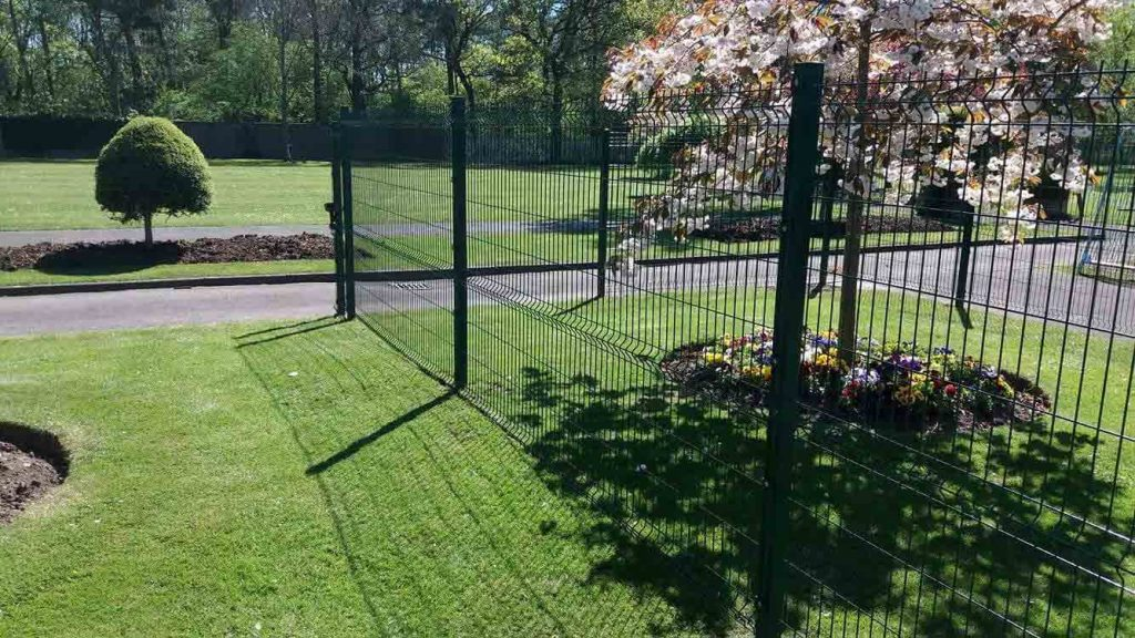1800mm high weld mesh fence panels used to safeguard childrens' play area.