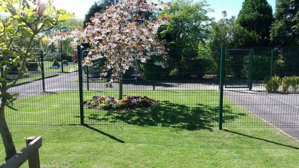 Internal boundary fence around school playground