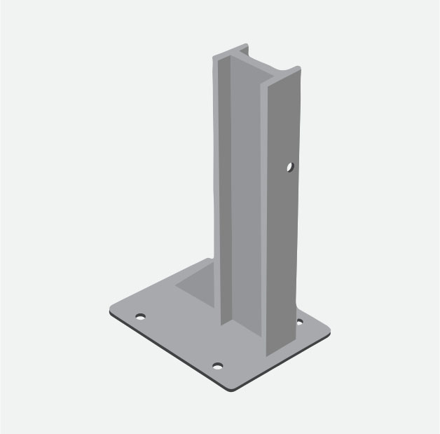 Baseplated posts for crash barriers